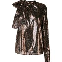 Msgm Leopard Sequinned Blouse - Marrom