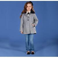 Trench Coat Infantil Cata-Vento Com Gola Em Pelo Removível Mescla Cata-Vento Casual Cinza
