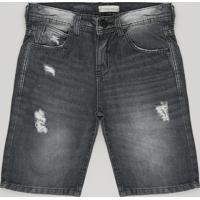 Bermuda Jeans Infantil Destroyed Preta