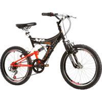 Bicicleta Aro 20 Xr 20 Full Suspensão 6V Mtb Preto E Laranja Track & Bikes