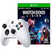 Controle Microsoft Xbox, Sem Fio, Branco + Game Watch Dogs Legion Xbox One
