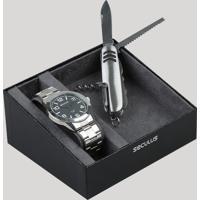 Kit De Relógio Analógico Seculus Masculino + Canivete - 28867G0Svna1K1 Prateado - Único