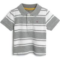 Camiseta Tommy Hilfiger Kids Menino Listrada Cinza/Branca