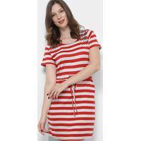 Vestido Royallove Curto Listrado Apliques - Feminino-Vermelho