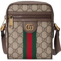 Gucci Ophidia Gg Stripe Shoulder Bag - Marrom