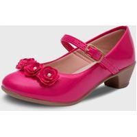 Sapato De Salto Pópidí Menina Flores Pink
