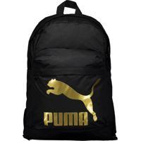 Mochila Puma Originals Preta E Dourada