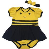 Fantasia Abelhinha Bebê - Unissex-Amarelo+Preto