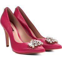 e8af93995 ... Scarpin Couro Jorge Bischoff Salto Alto Bico Fino Textura Pedraria -  Feminino-Pink