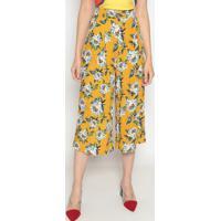 Calça Pantacourt Floral- Amarela & Branca- Tritontriton