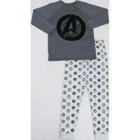 Pijama Infantil Os Vingadores Estampado Manga Longa Cinza Mescla Escuro