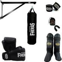 Kit Fheras Boxe Muay Thai Com Suporte E Saco De Pancadas 08 Oz