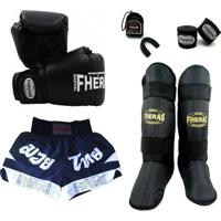 Kit Boxe Trad - Luva Bandagem Bucal Caneleira Shorts- 08 Oz - Unissex