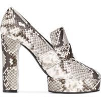 Casadei Sapato Plataforma Com Efeito Pele De Cobra - Cinza