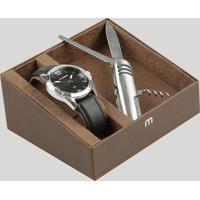 Kit De Relógio Analógico Mondaine Masculino + Canivete - 76668G0Mvnh2Kc Preto - Único