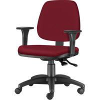 Cadeira Job Com Bracos Assento Crepe Vinho Base Nylon Arcada - 54616 Sun House