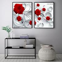 Quadro Oppen House 70X100Cm Rosas Flores Vermelha Fundo Abstrato Decorativo Interiores Sala De Estar Quartos Moldura Preta Com Vidro