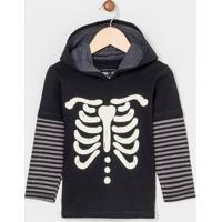 Camiseta Infantil Com Capuz Estampa De Esqueleto Brilha No Escuro - 1 A 4 Anos