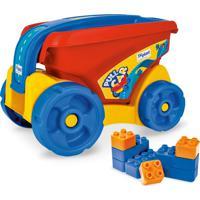 Pull Car Xplast - Carro Com Blocos De Encaixar E Montar - 24 Peças - Pvc - 2091 - Vermelho