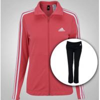 Agasalho Adidas Back 2 Basics 3S - Feminino - Rosa/Preto