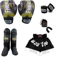 Kit Boxe Muay Thai Fheras Top - Luva Bandagem Bucal Caneleira Shorts- 14 Oz Iron Amarelo