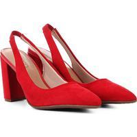 Scarpin Beira Rio Chanel Salto Grosso Bico Fino - Feminino-Vermelho