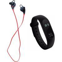Kit Fone Xtrad De Ouvido Bluetooth E Relógio Bracelete Pedômetro Medidor De Pressão Preto