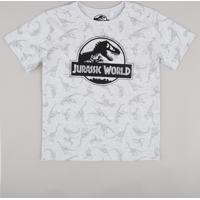 Camiseta Infantil Jurassic World Estampada Manga Curta Cinza Mescla Claro