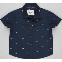 Camisa Infantil Estampada De Óculos Manga Curta Azul Marinho