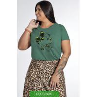 Blusa Manga Curta Estampada Com Pedraria Verde