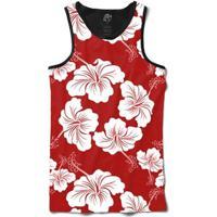 Camiseta Bsc Regata Flower Red N White Full Print - Masculino-Preto