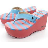 Tamanco Sorvete Barth Shoes Listras - Feminino-Azul+Rosa