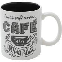 Caneca Café Branca E Preta 9,5X8X8 Cm