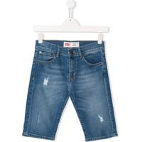 Levi'S Kids Bermuda Jeans Desgastada - Azul