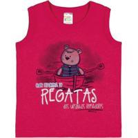 Camiseta Regata Infantil Pulla Bulla Meia Malha Masculino - Masculino-Vermelho