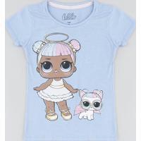 Blusa Infantil Lol Surprise Com Paetê Manga Curta Decote Redondo Lilás