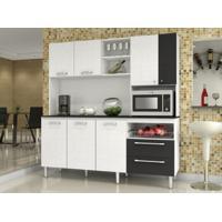 Cozinha Compacta Jade Com Tampo Linho Branco/Preto - Kits Paraná
