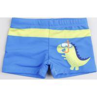 Sunga Infantil Boxer Dinossauro Com Proteção Uv50+ Azul