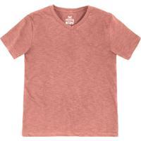 Camiseta Básica Infantil Menino Flamê Em Decote V Hering Kids