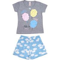 Pijama Curto Juvenil Para Menina - Cinza/Azul