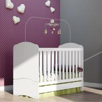 Quarto De Bebê Completo Com Guarda Roupa 3 Portas, Cômoda E Berço Bala De Menta Henn Flex Color Branco/Branco/Rosa