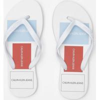 Chinelo Com Logos- Branco & Vermelhocalvin Klein