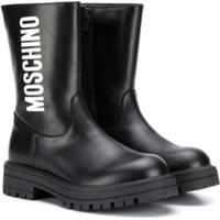 Moschino Kids Logo Print Boots - Preto