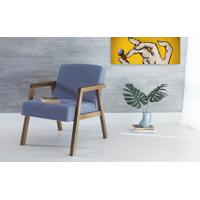 Poltrona Design De Madeira Estofada Com Braços Azul Claro Charlie - Verniz Capuccino \ Tec.930 - 60X74X84 Cm