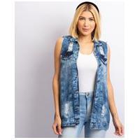 Colete Longo Jeans Feminino