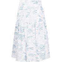 Kenzo Mermaid Print A-Line Skirt - Branco