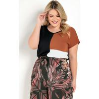 Blusa Preta Com Recortes Na Frente Plus Size