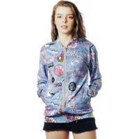Jaqueta Elephunk Bomber Estampada Tumblr Full Print Lol Jeans Feminina - Feminino-Azul