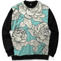 Blusa Bsc White Roses Full Print - Masculino