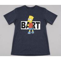 Camiseta Juvenil Bart Simpson Manga Curta Cinza Mescla Escuro